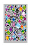 Graphic Pattern of Colorful Diamond Shapes Reproduction d'art
