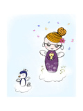 Girl on Cloud Holding a Duck with Glass and Nurse Penguin