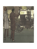 Men Gesturing to Carriage at Night