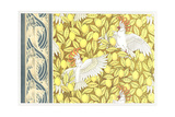 Stylized Birds on Lemon Tree Pattern with Fish Border
