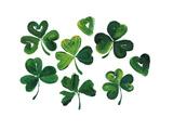 Painterly Shamrocks with Heart-Shaped Leaves