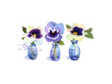Small Blue Vases with a Single Pansy in Each