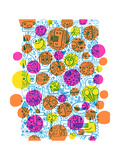 Dense Outline Pattern Covered with Colorful Dots Reproduction d'art