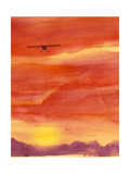 Silhouette of Small Aircraft Against Watercolor Sunset