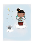 Juvenile-Style Girl on Cloud Holding a Candle with a Owl