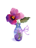Watercolor of Pansy in Small Blue Vase