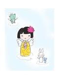 Girl Angel Holding a Bunny Rabbit on a Cloud