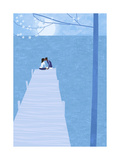 Couple Kissing in the Moonlight at End of Pier