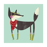 Side View of Fox Wearing Glasses, Scarf, and Boots Reproduction d'art
