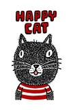 Black Cat with Happy Cat Lettering Reproduction d'art