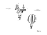 Man in hot air balloon passes dog in giant dog shaped balloon - New Yorker Cartoon