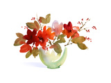 Red Flowers and Branches with Red Berries in Bowl