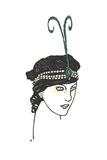 Stylized Headshot of Woman in Vintage Headpiece