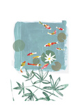 Stylized Koi Fish Swimming in Lily Pond