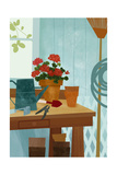 Potted Geraniums on Potting Table with Garden Tools