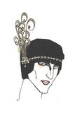 Art Deco Head Piece with Swirl Feathers