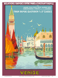 Venice (Venise), Italy - Venetian Grand Canal - Fast Train Daily Reproduction d'art par Geo Dorival