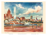 Chicago Skyline - Buckingham Fountain - United Air Lines Calendar Page