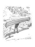 Owner and dog both carry canoes - New Yorker Cartoon