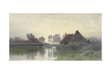 Farmers' Homes on the Water in Morning Mist  Ca 1848-1903