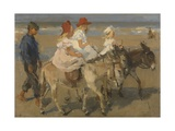 Donkey Rides on the Beach  C 1890-1901 Dutch Watercolor Painting