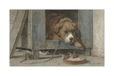 Cat Spies Birds While a Dog Sleeps  C 1850-90