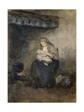 Mother Suckles Her Child by the Fire  C 1890-1910