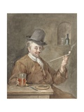 Pipe Smoking Man at a Table with a Plate  Knife  and Glass  1778