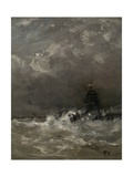 Lighthouse in Breaking Waves  C 1900-07