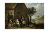 Peasant with His Wife and Child in Front of the Farmhouse  1640-70