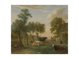 Cows in a Meadow Near a Farm  1653