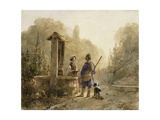 Hunter in Conversation with a Peasant Woman at a Well