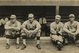 Boston Red Sox Players Sitting in Front of their Dugout