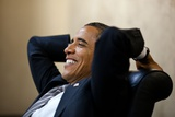 President Barack Obama Has a Relaxed Moment in a Meeting in the White House Situation Room