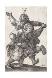 Dancing Peasant Couple  by Hieronymus Wierix Copied from Albrecht Durer  Engraving  C 1559-1619