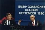 Pres George H W Bush and Soviet Pres Mikhail Gorbachev at the Helsinki Summit  Sept 9  1990