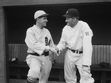 Former Teammates Walter Johnson and Bucky Harris Meet as Managers of Opposing Baseball Teams