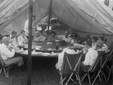President Warren Harding Has Lunch in a Tent  with Thomas Edison and Henry Ford (On Right)