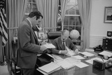 President Gerald Ford Meeting with His Chief of Staff  Donald Rumsfeld Feb 6  1975
