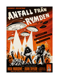 Earth Vs the Flying Saucers  (AKA Anfall Fran Rymden)  Swedist Poster Art  1956