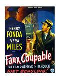 The Wrong Man  (aka Faux Coupable)  Henry Fonda on Belgian Poster Art  1956