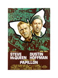 Papillon  (From Left): Steve Mcqueen  Dustin Hoffman  (Italian Poster Art)  1973