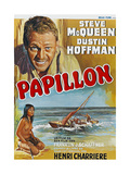 Papillon  Top: Steve Mcqueen  Bottom: Ratna Assan on Belgian Poster Art  1973