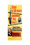 Witness for the Prosecution  Top: Tyrone Power  Bottom: Marlene Dietrich on Insert Poster  1957