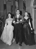 Conspirator  from Left: Elizabeth Taylor  Robert Taylor  Honor Blackman on Set  1949
