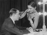 Gloria Swanson (Right) Applying Makeup to Husband Henri De La Falaise  1920S