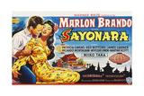 Sayonara  Marlon Brando  Miiko Taka on Belgian Poster Art  1957