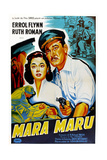 Maru Maru  Ruth Roman  Errol Flynn  (French Poster Art)  1952