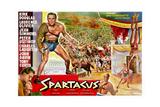 Spartacus  (Top Left): Kirk Douglas  (Belgium Poster Art)  1960