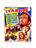 Ivanhoe  on Right  from Top: Robert Taylor  Elizabeth Taylor  Joan Fontaine; Belgian Poster  1952